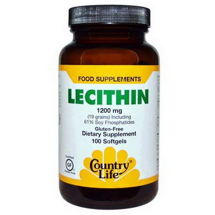 Country Life, Lecithin, 1200mg, 100 Softgels