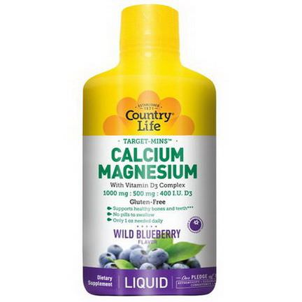 Country Life, Liquid Calcium Magnesium, Wild Blueberry Flavor 944ml