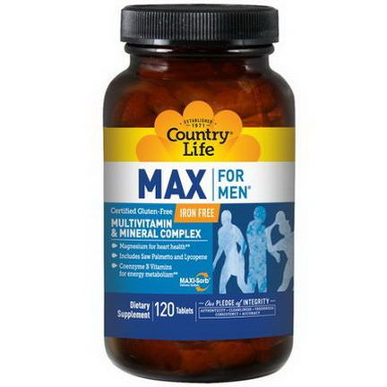 Country Life, Max for Men, Multivitamin&Mineral Complex, Iron-Free, 120 Tablets