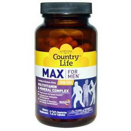 Country Life, Max for Men, Multivitamin&Mineral, Iron-Free, 120 Veggie Caps