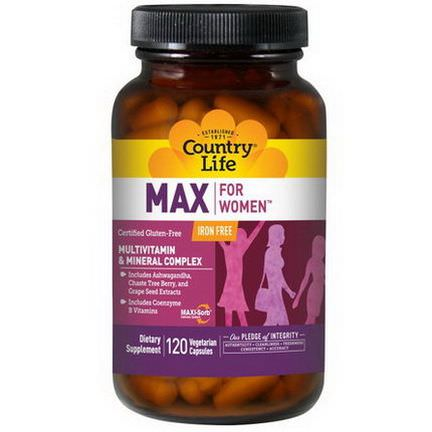 Country Life, Max, for Women, Multivitamin&Mineral Complex, Iron Free, 120 Veggie Caps