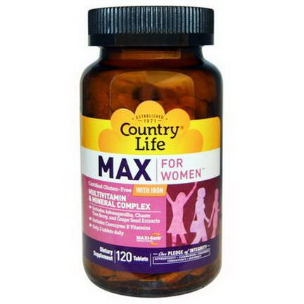 Country Life, Max, for Women, Multivitamin&Mineral Complex, With Iron, 120 Tablets