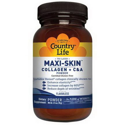 Country Life, Maxi-Skin Collagen C&A Powder, Flavorless 78g