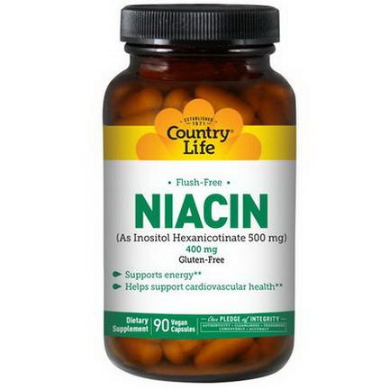 Country Life, Niacin, Flush-Free, 400mg, 90 Vegan Caps