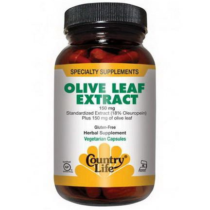 Country Life, Olive Leaf Extract, 150mg, 60 Veggie Caps