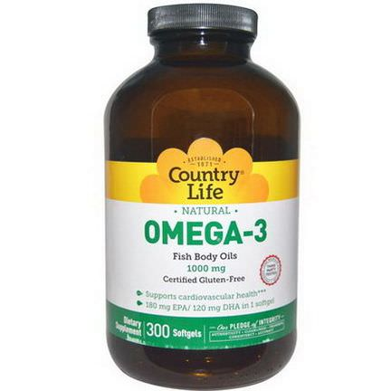 Country Life, Omega-3, 1000mg, 300 Softgels