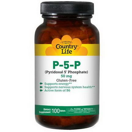 Country Life Pyridoxal 5'Phosphate, 50mg, 100 Tablets