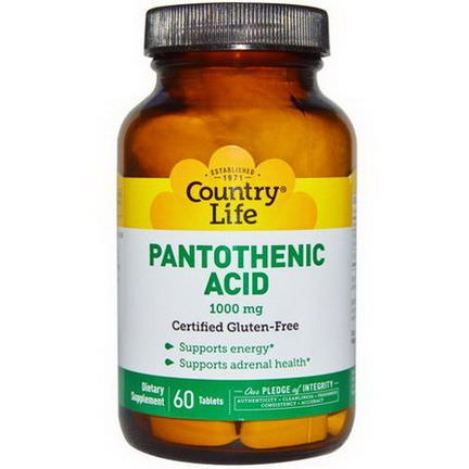Country Life, Pantothenic Acid, 1000mg, 60 Tablets