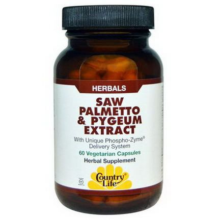 Country Life, Saw Palmetto&Pygeum Extract, 60 Veggie Caps