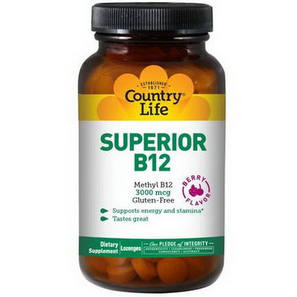 Country Life, Superior B12, Berry Flavor, 3000mcg, 120 Sublingual Lozenges