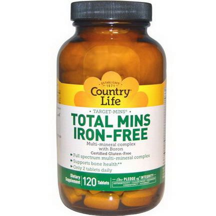 Country Life, Total Mins Iron-Free, Multi-Mineral Complex with Boron, 120 Tablets