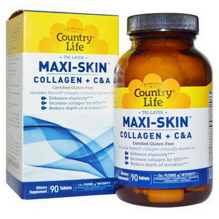 Country Life, Tri Layer Maxi-Skin, Collagen Plus C&A, 90 Tablets