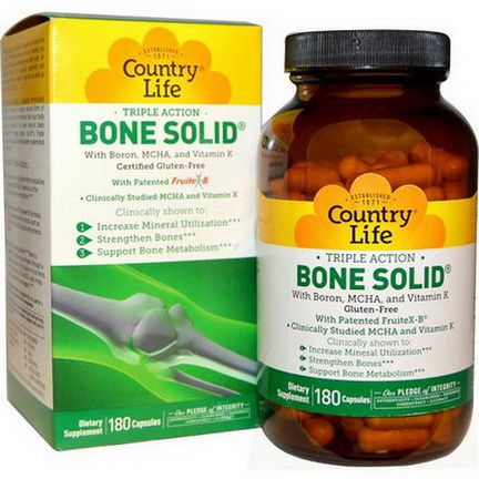 Country Life, Triple Action Bone Solid, 180 Capsules