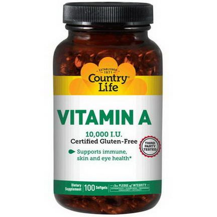 Country Life, Vitamin A, 10,000 IU, 100 Softgels