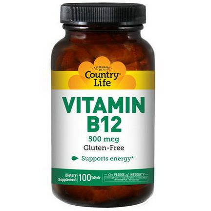 Country Life, Vitamin B12, 500mcg, 100 Tablets