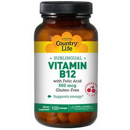 Country Life, Vitamin B12, Sublingual, Cherry Flavor, 500mcg, 100 Lozenges