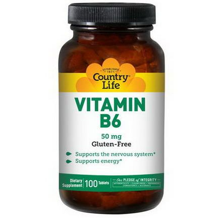Country Life, Vitamin B6, 50mg, 100 Tablets