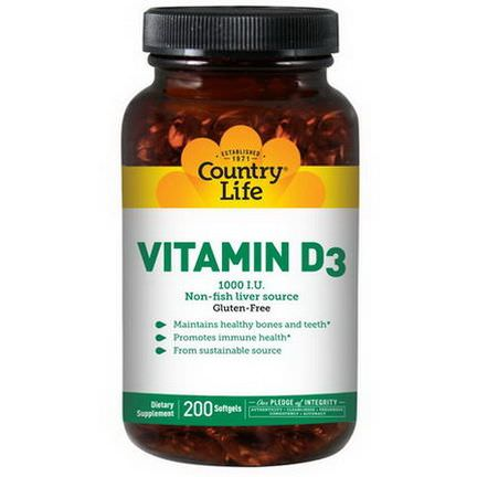 Country Life, Vitamin D3, 1000 IU, 200 Softgels