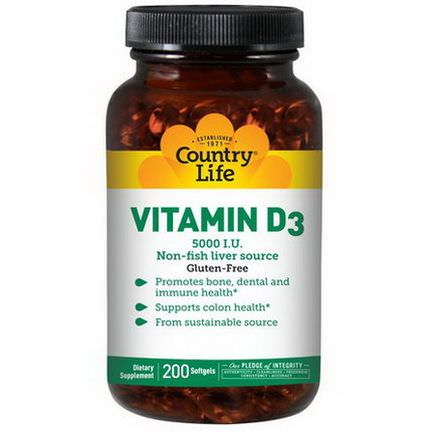 Country Life, Vitamin D3, 5,000 IU, 200 Softgels