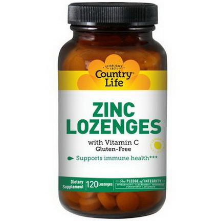 Country Life, Zinc Lozenges, With Vitamin C, Lemon Flavor, 120 Lozenges