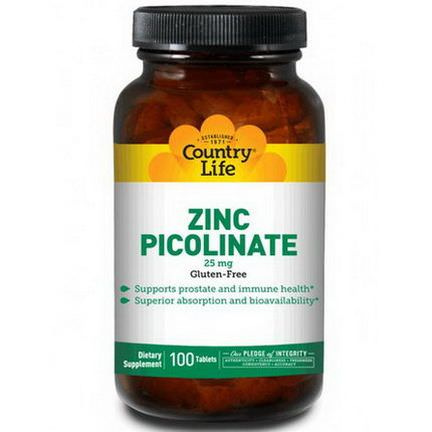 Country Life, Zinc Picolinate, 25mg, 100 Tablets