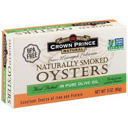 Crown Prince Natural, Naturally Smoked Oysters, in Pure Olive Oil 85g