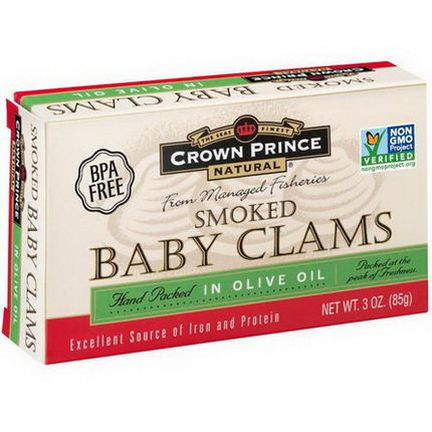Crown Prince Natural, Smoked Baby Clams in Olive Oil 85g