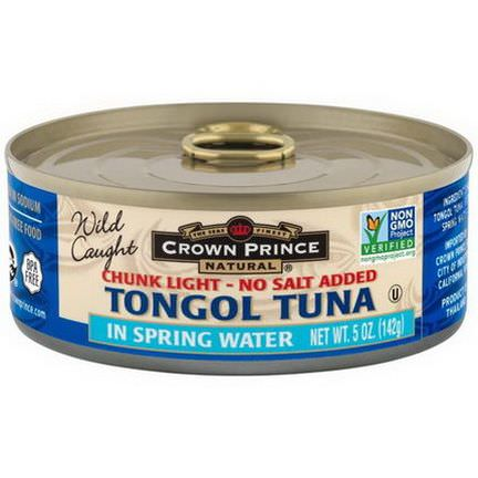 Crown Prince Natural, Tongol Tuna, Chunk Light - No Salt Added, In Spring Water 142g