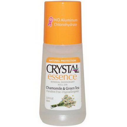 Crystal Body Deodorant, Crystal Essence, Mineral Deodorant Roll On, Chamomile&Green Tea 66ml