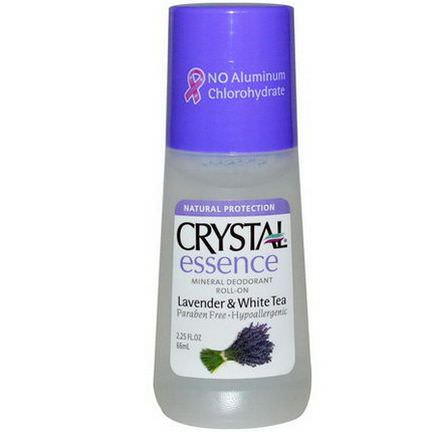 Crystal Body Deodorant, Crystal Essence, Mineral Deodorant Roll-On, Lavender&White Tea 66ml