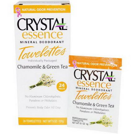 Crystal Body Deodorant, Crystal Essence Mineral Deodorant Towelettes, Chamomile&Green Tea, 24 Towelettes 4g Each