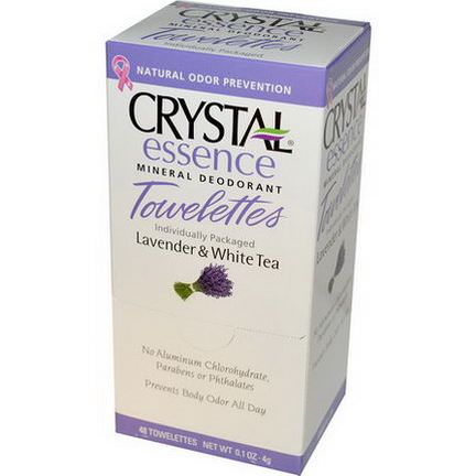 Crystal Body Deodorant, Crystal Essence, Mineral Deodorant Towelettes, Lavender&White Tea, 48 Towelettes