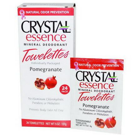 Crystal Body Deodorant, Crystal Essence Mineral Deodorant Towelettes, Pomegranate, 24 Towelettes 4g Each