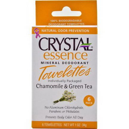 Crystal Body Deodorant, Essence Mineral Deodorant Towelettes, Chamomile&Green Tea, 6 Towelettes 4g Each