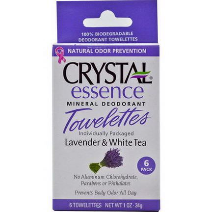 Crystal Body Deodorant, Essence Mineral Deodorant Towelettes, Lavender&White Tea, 6 Towelettes 34g Each