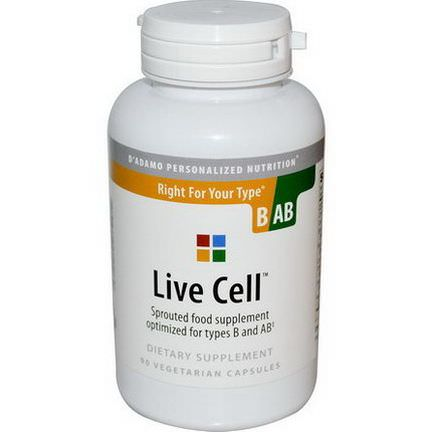D'adamo, Live Cell, Right For Your Type B/AB, 90 Veggie Caps