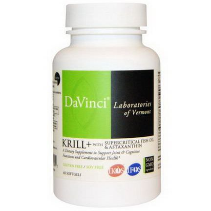DaVinci Laboratories of Vermont, Krill+ with Supercritical Fish Oil&Astaxanthin, 60 Softgels