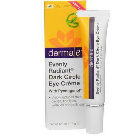 Derma E, Evenly Radiant Dark Circle Eye Cream with Pycnogenol 14g