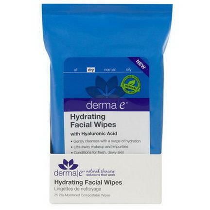 Derma E, Hydrating Facial Wipes, 25 Pre-Moistened Compostable Wipes 15.3 x 19.7 cm