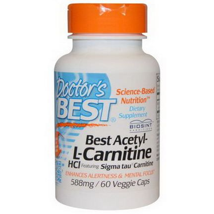 Doctor's Best, Best Acetyl-L-Carnitine HCl, 588mg, 60 Veggie Caps