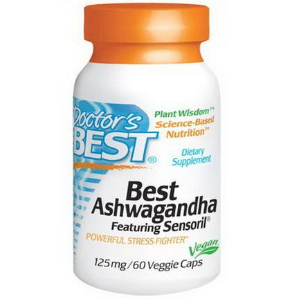 Doctor's Best, Best Ashwagandha, Featuring Sensoril, 125mg, 60 Veggie Caps