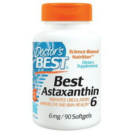 Doctor's Best, Best Astaxanthin 6, 6mg, 90 Softgels