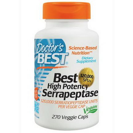 Doctor's Best, Best High Potency Serrapeptase, 120,000 SPUs, 270 Veggie Caps