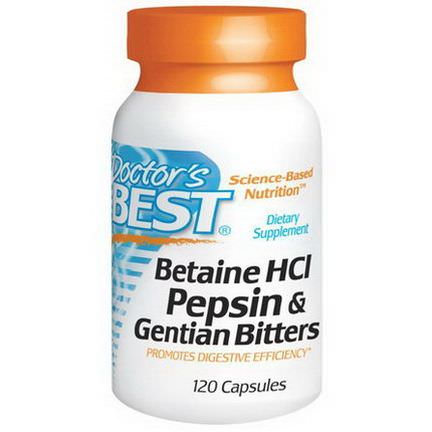 Doctor's Best, Betaine HCL Pepsin&Gentian Bitters, 120 Capsules