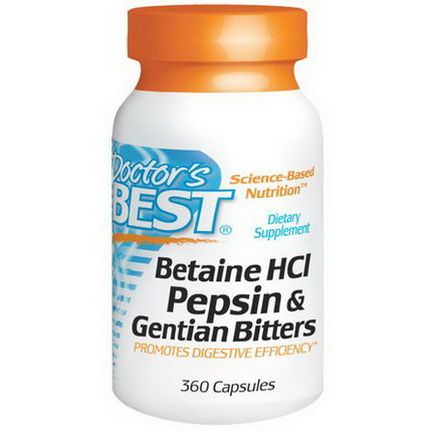 Doctor's Best, Betaine HCl, Pepsin&Gentian Bitters, 360 Capsules
