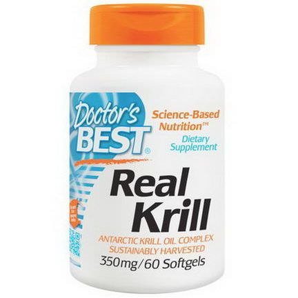 Doctor's Best, Real Krill, 350mg, 60 Softgel Capsules