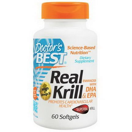 Doctor's Best, Real Krill, Enhanced with DHA&EPA, 60 Softgels