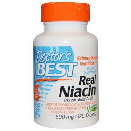 Doctor's Best, Real Niacin, 500mg, 120 Tablets