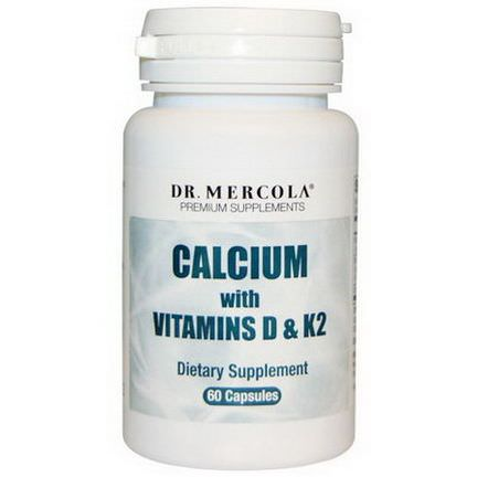 Dr. Mercola, Premium Supplements, Calcium with Vitamins D&K2, 60 Capsules