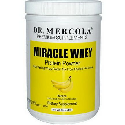 Dr. Mercola, Premium Supplements, Miracle Whey, Protein Powder, Banana 454g